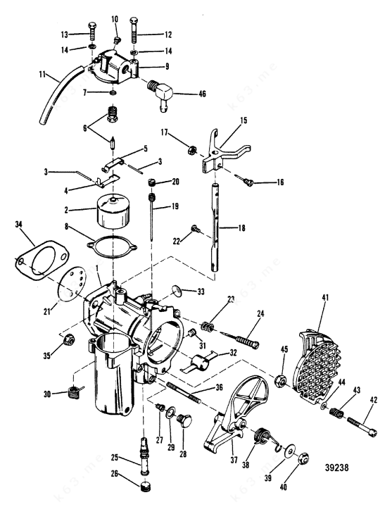 Mercury/Mariner 402, 40 2 Cyl., Carburetor Assembly
