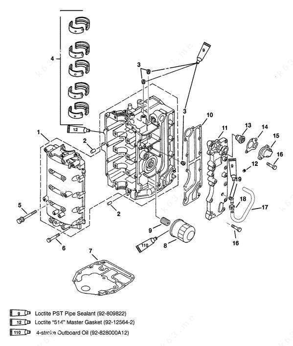 Mercury/Mariner 45 Bodensee 4-Stroke, Cylinder Block