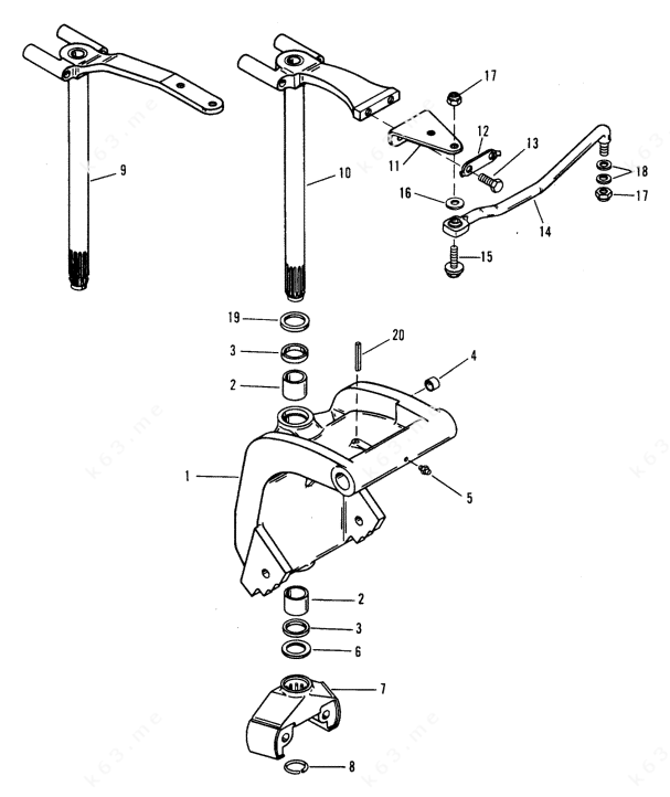Mercury/Mariner 55 3 Cyl., Swivel brackets/N: 0D181999 and