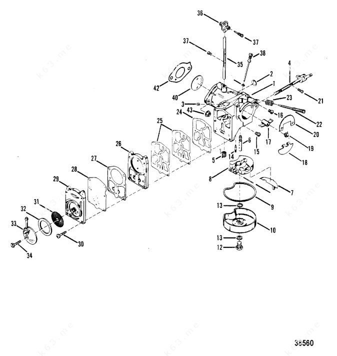 Mercury/Mariner 50 4 Cyl., Carburetor Assembly Tillotson