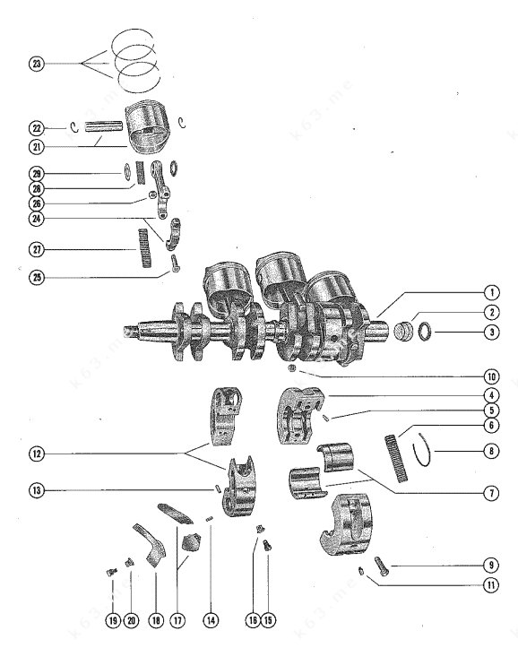 Mercury/Mariner 500, 50, Crankshaft, Piston and Connecting