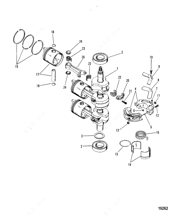 Mercury/Mariner 60 3 Cyl., Crankshaft, Pistons and