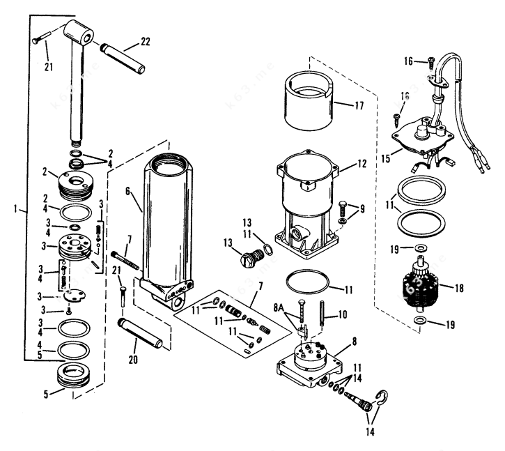 Mercury/Mariner 45 Jet, Power Trim Components S/N