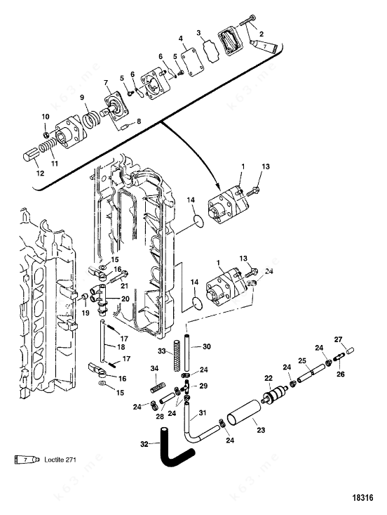 Mercury/Mariner 90 4-Stroke, Fuel Pump Serial Number
