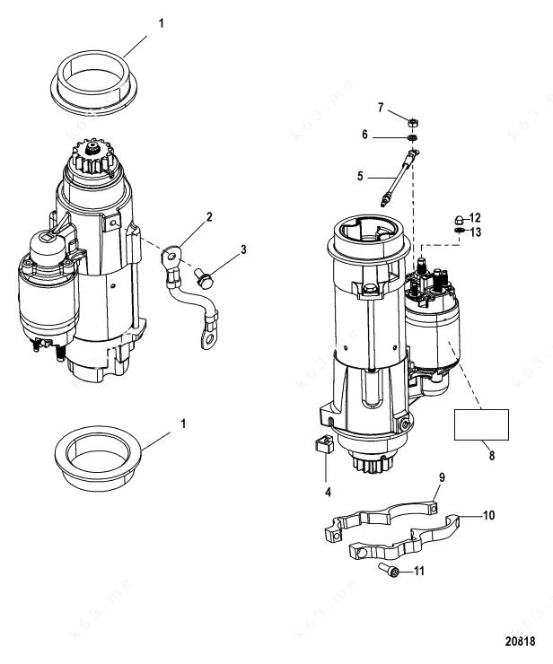 Mercury/Mariner 80 EFI 4-Stroke, Starter Motor, 1B759587