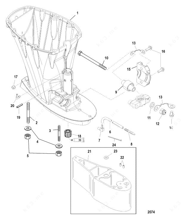 Mercury/Mariner 90 EFI 4-Stroke, Drive Shaft Housing