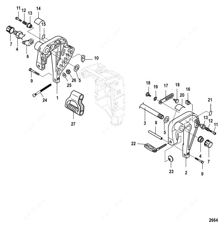 Mercury/Mariner 9.9 4-Stroke 209cc, Clamp Bracket Non