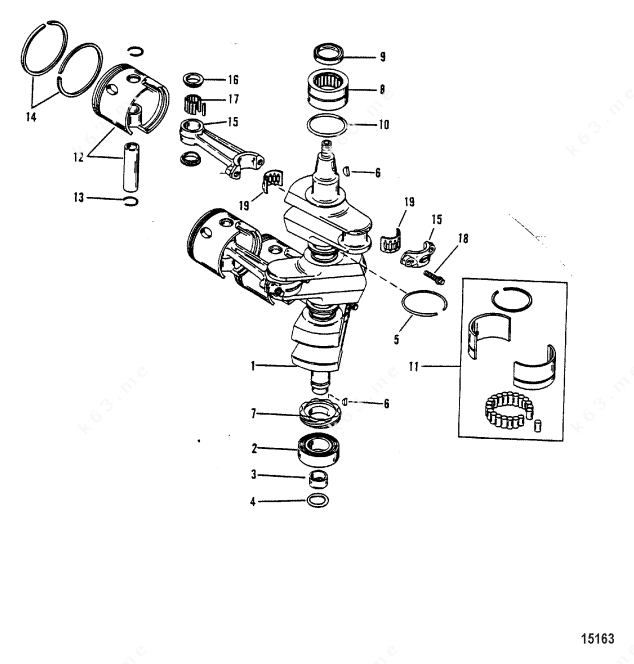 Mercury/Mariner 90 3 Cyl., Crankshaft, Pistons/Connecting