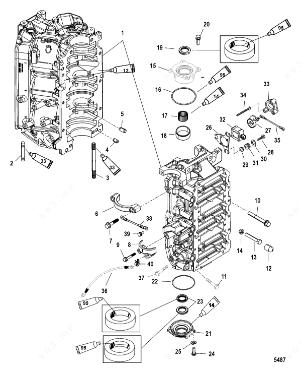 Mercury/Mariner V-150 DFI 2.5l, Cylinder Block and End