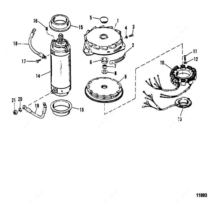 Mercury/Mariner V-150 Mag/EFI, Flywheel/Starter Motor