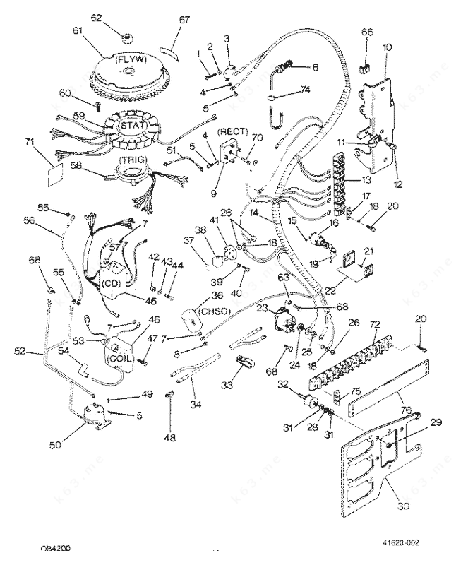 force 50 hp 1988 electrical components parts