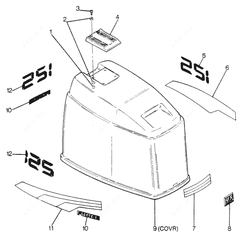 Mercury Force 125 H.P. 1988, Engine Cover Maxum Models