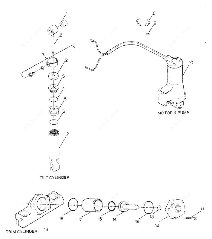 Mercury Force 125 H.P. 1988, Parts Breakdown Tilt Cylinder