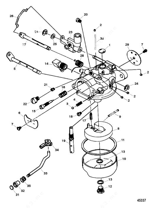 Mercury Force 15 H.P. 1996, Carburetor 15 Hp Model 1300