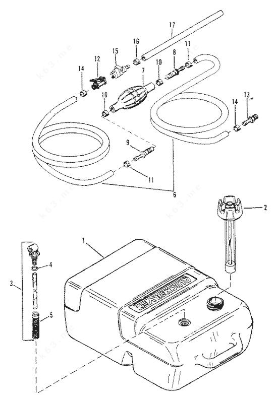 Mercury Force 150 H.P. 1989-1992, Fuel Tank 0E009500 Thru