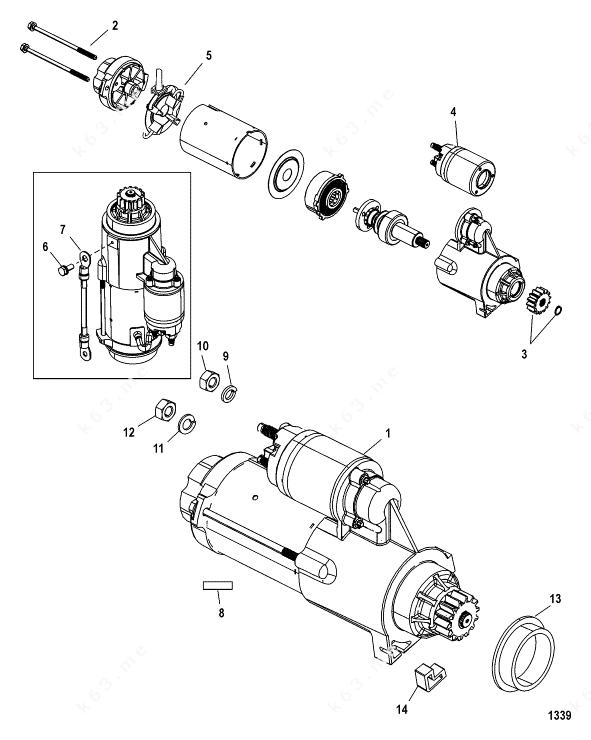 Mercury/Mariner 225 3.0l EFI, Starter Motor 225-S/N