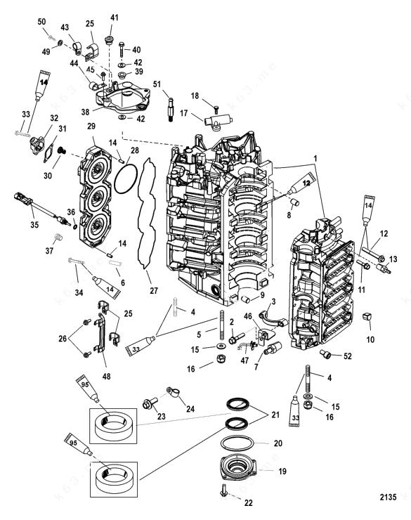 Mercury/Mariner 200 DFI 3.0l, Cylinder Block and End Cap