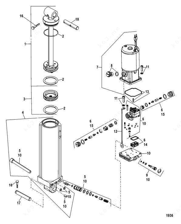 Mercury/Mariner 100 EFI 4-Stroke, Power Trim Components