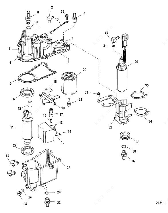 Mercury/Mariner V-175 DFI 2.5l, Vapor Separator Components