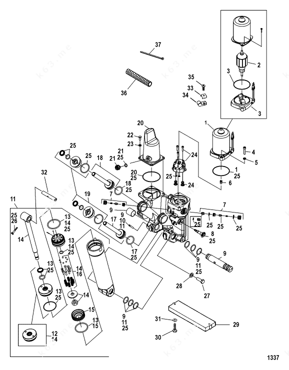 Mercury/Mariner V-175 DFI 2.5l, Power Trim Components