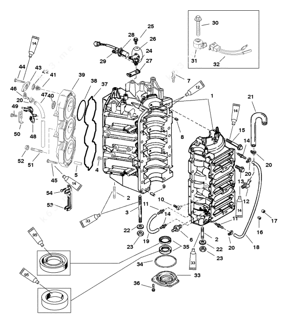 Mercury/Mariner 200 DFI, Cylinder Block and End Cap