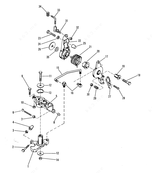 Mercury/Mariner 35, Throttle and Spark Advance Linkage