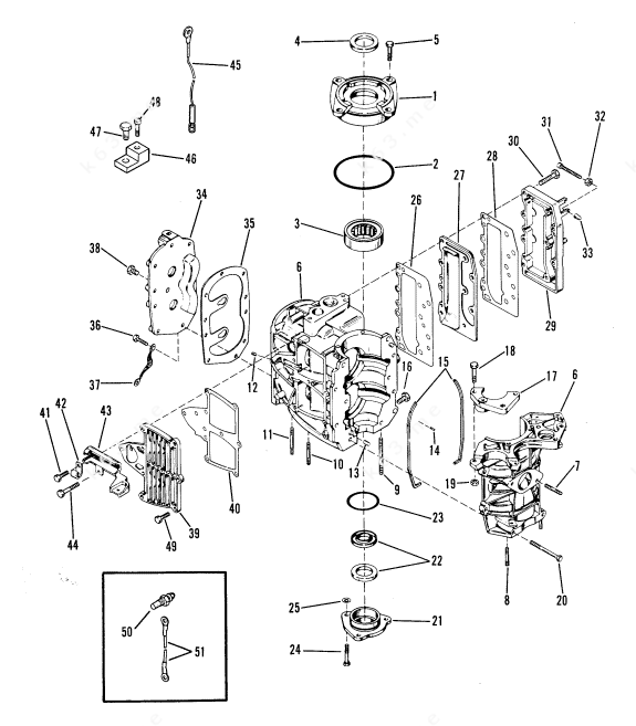 Mercury/Mariner 35, Cylinder Block Crankcase and Covers