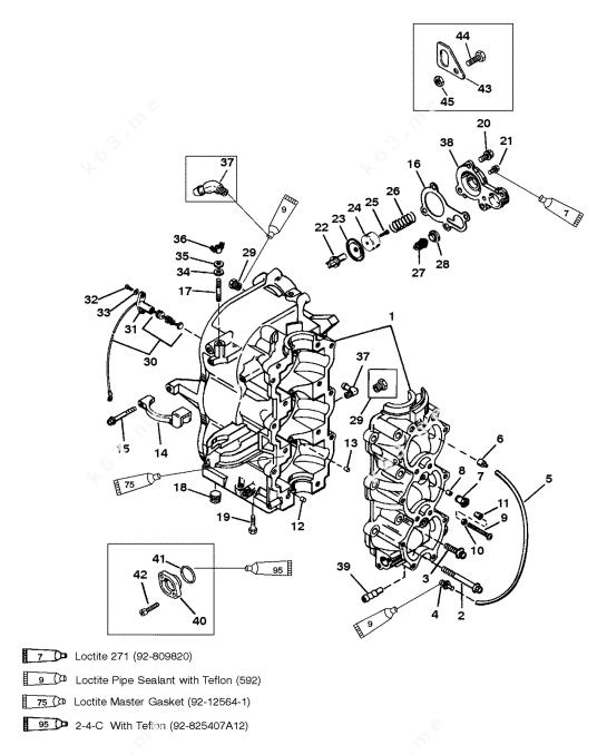 Mercury/Mariner 55 3 Cyl., Cylinder Block and Crankcase