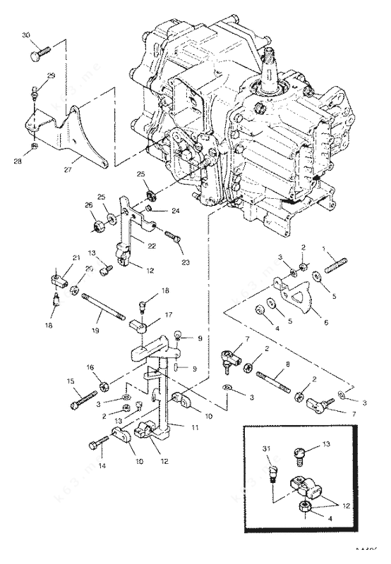 Mercury/Mariner 50 H.P. 1991, Shift and Throttle Linkage