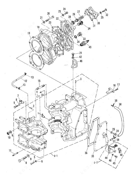 Mercury/Mariner 60 2 Cyl., Crankcase and Cylinder Head