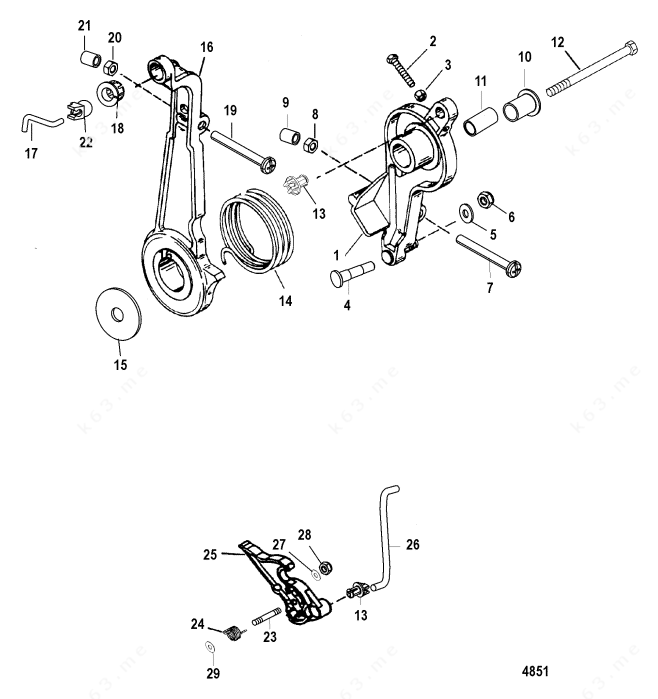Mercury/Mariner 60 3 Cyl., Throttle Lever and Linkage