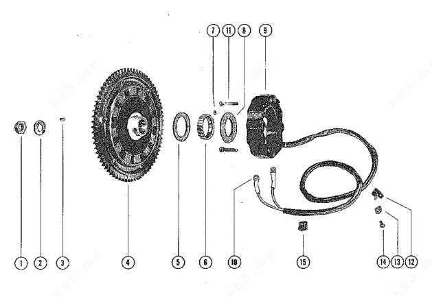 Mercury/Mariner 800 6 Cyl., Flywheel Assembly and Stator