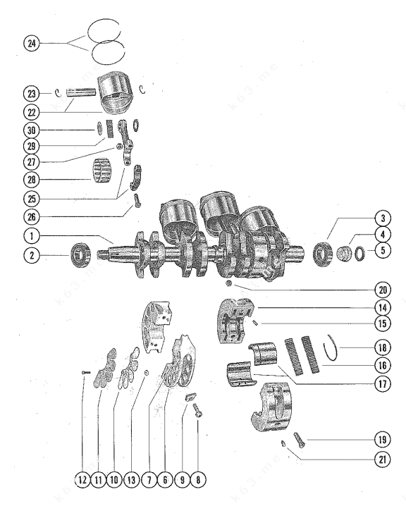 Mercury/Mariner 850 4 Cyl., Crankshaft, Piston and
