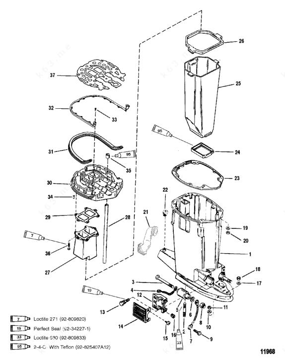 Mercury/Mariner V-150, Drive Shaft Housing and Exhaust