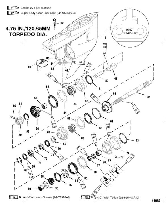 Mercury/Mariner V-200, Gear Housing Propshaft-Counter-S/N