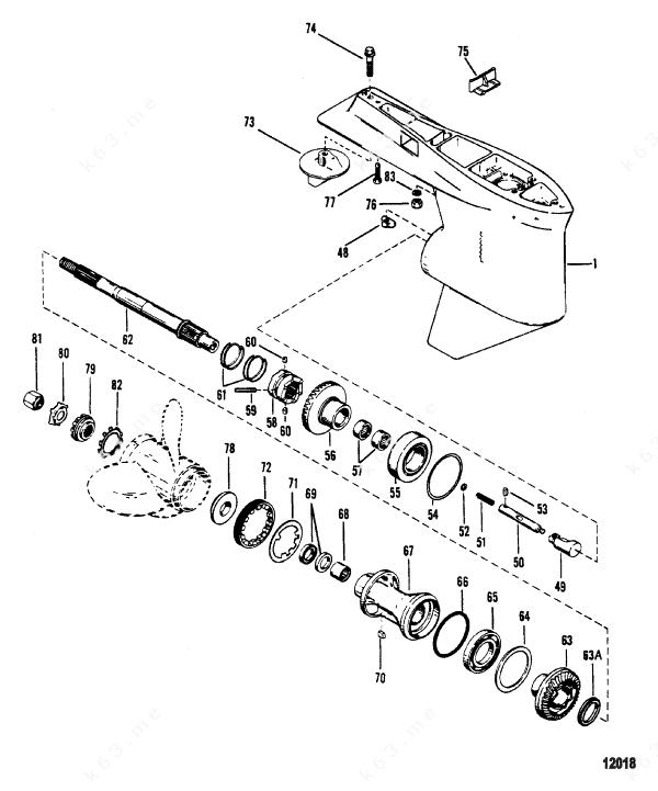 Mercury/Mariner V-150-XR-2, Gear Housing, Propeller Shaft