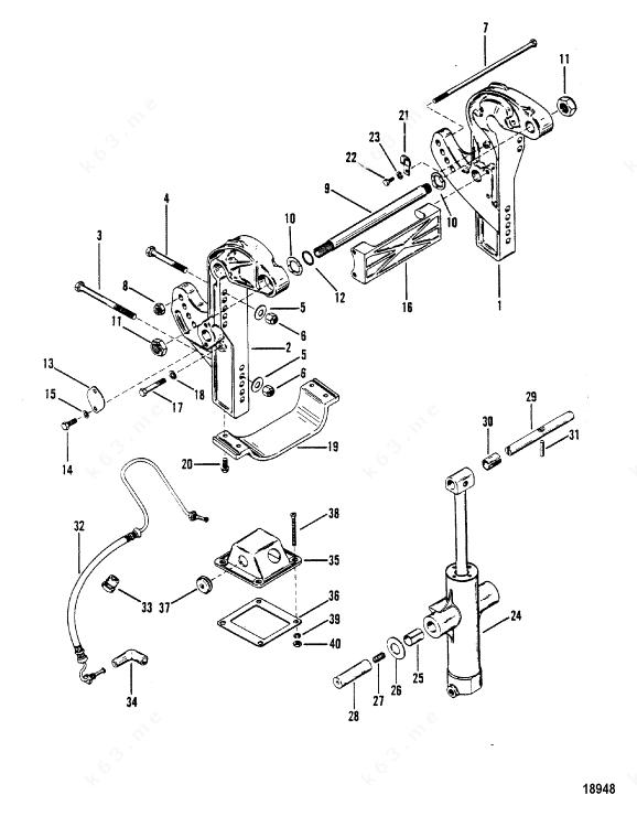 Mercury/Mariner V-150 Magnum, Transom brackets/N-Me