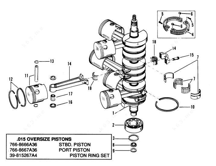 Mercury/Mariner V-175 Ski, Crankshaft, Pistons and