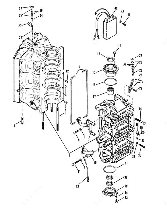 Mercury/Mariner V-175 Ski, Cylinder Block and End Caps