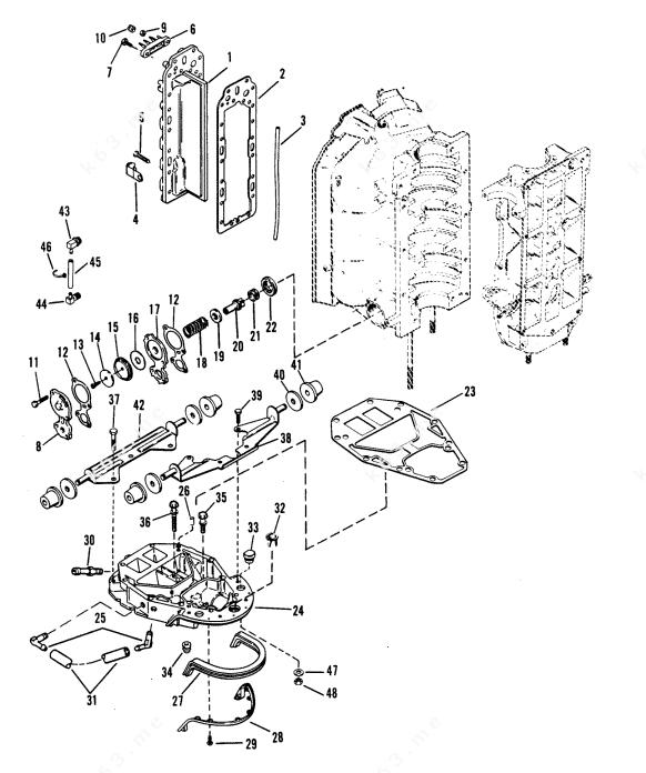 Mercury/Mariner V-175 Ski, Exhaust Manifold and Exhaust
