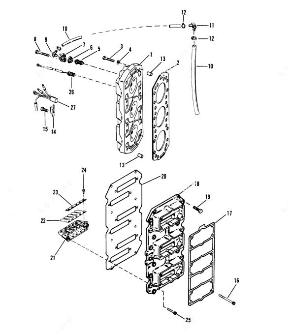 Mercury/Mariner V-175 Ski, Reed Block and Cylinder Head