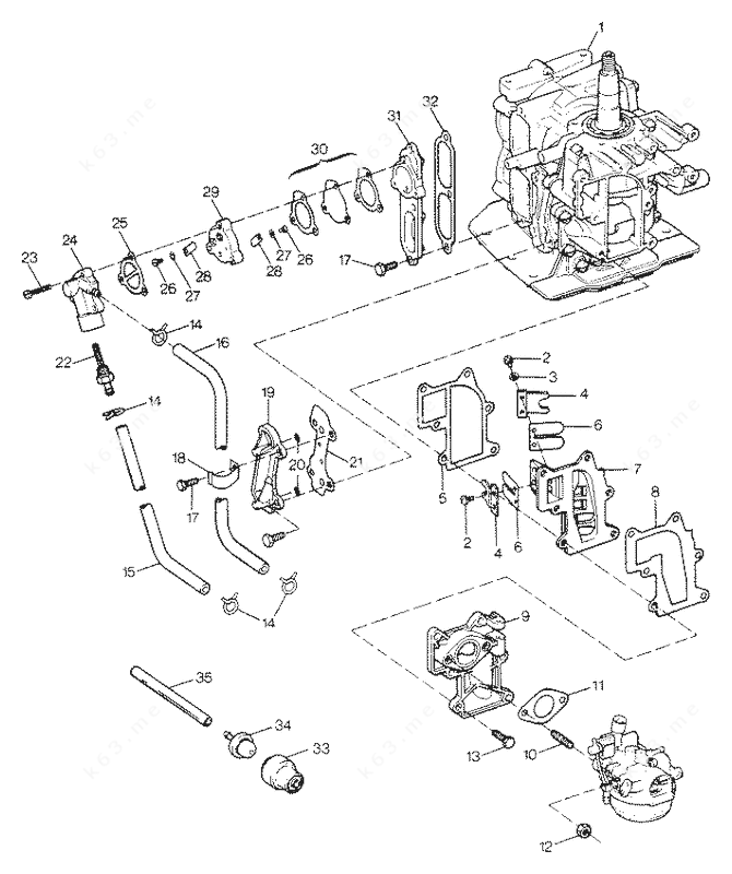 Sears 7.5 H.P. 1988, Fuel Intake and Recirculation System