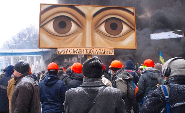 Ukrainian protesters in January 2014. Photo via Wikimedia Commons.