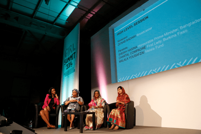 Malala Yousafzai at Girl Summit 2014 sitting with Zeinab Badawi, Faso Chantal Compaore and Sheikh Hasina