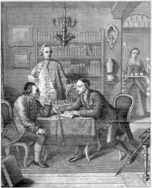 Mendelssohn, Lavater and Lessing (behind), engraving by the artist Moritz Daniel Oppenheim