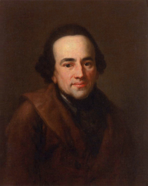 A picture of Moses Mendelssohn based on a portrait by Anton Graff