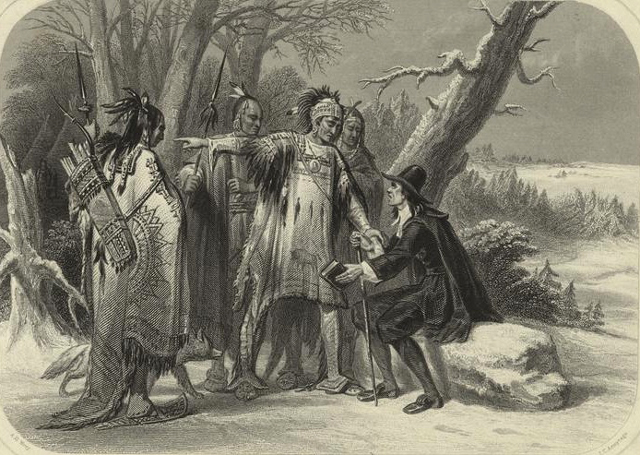 Engraved print depicting Roger Williams, founder of Rhode Island, meeting with the Narragansett Indians.