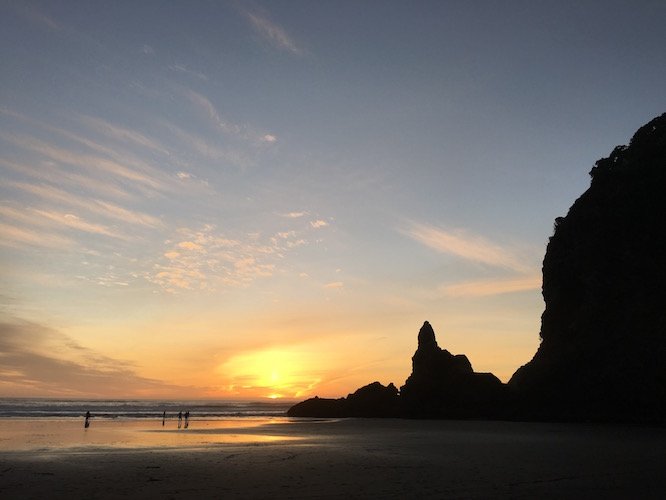 NZ Piha Beach Sunset
