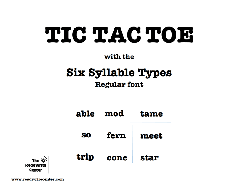 Tic Tac Toe 6-Syllable Types Game