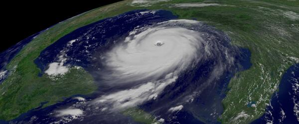 View from space of a hurricane in the Gulf of Mexico